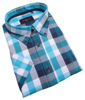 8xl Soldes Grande taille Manches courtes Chemise kamro turquoise bleu navy blanc à carreaux 3xl