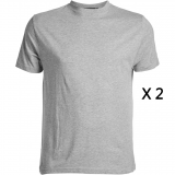 XXL4YOU Pack de 2 tee-shirts gris chiné de 3XL à 8XL