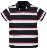 Polo piqué manches courtes Noir ligné blanc rouge de 3XL à 8XL