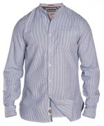 Chemise sans col blanc ligné bleu clair de 3XL à 6XL