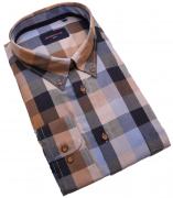 Chemise manches longues carreaux ocre bleu de 3XL à 6XL
