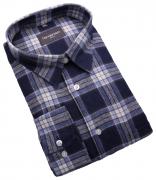 Chemise manches longues carreaux marine bleu blanc de 2XL à 5XL