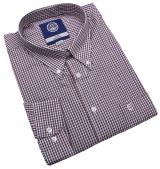 Chemise manches longues carreaux bleu marine ocre de 4XL à 8XL