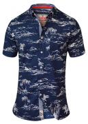 Chemise hawaïenne bleu marine de 2XL à 8XL