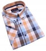 Chemise manches Courtes carreaux bleu ocre de 3XL à 6XL