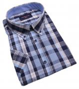 Chemise manches Courtes carreaux bleu marine gris blanc de 3XL à 6XL