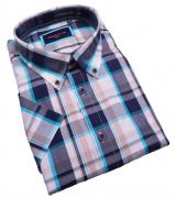 Chemise manches Courtes carreaux turquoise marine de 3XL à 6XL