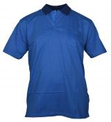 Polo jersey manches courtes bleu de 3XL à 6XL