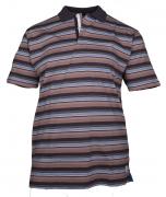 Polo manches courtes Brun ligné bleu de 3XL à 6XL