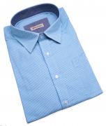 Chemise fantaisie manches longues petits carreaux turquoise de 3XL à 8XL
