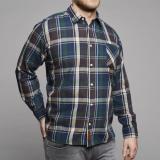 Chemise manches longues bleu marine à carreaux bordeau vert 5XL