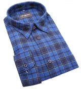 Chemise manches longues carreaux bleu  de 2XL à 5XL