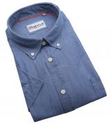 Chemise manches courtes bleu denim de 3XL à 6XL