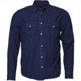 Chemise Replika Jeans bleu foncé délavé manches longues 3XL à 8XL