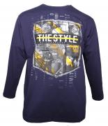 T-shirt manches longues bleu marine de 3XL à 8XL