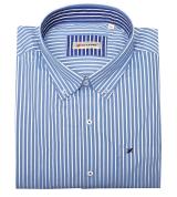 Chemise manches longues blanche rayée bleu clair de 3XL à 10XL