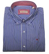Chemise manches longues blanche rayée bleu marine de 3XL à 10XL