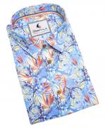 Chemise manche courte bleu fleur de 3XL à 6XL