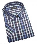 Chemise manche courte careaux noir bleu bleu clair de 2XL à 5XL
