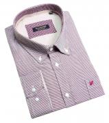 Chemise manches longues blanche motifs bordeaux de 3XL à 10XL