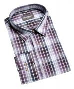 Chemise manche longue carreaux Noir blanc violet de 2XL à 5XL