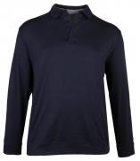 Polo manche longue coton peigné bleu marine 3XL à 8XL