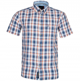 Chemise manche courte carreaux Blanc, bleu clair et orange de 3XL à 8XL