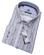 Chemise blanche lignes marine manche longue de 2XL à 6XL