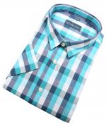 Chemise manche courte carreaux turquoise marine  de 2XL à 5XL