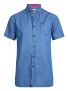 Chemise manche courte bleu denim de 3XL à 6XL