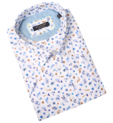 Chemise manche courte motif fleuri blanche de 3XL à 8XL