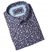 Chemise manche courte motif fleuri bleu marine de 3XL à 8XL