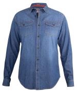 Chemise bleu délavé manche longue de 3XL à 8XL