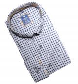 Chemise manche longue gris clair petit motif marine de 2XL à 6XL