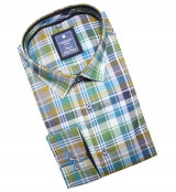 Chemise manche longue Carreaux vert bleu et brun de 2XL à 6XL