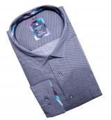 Chemise manche longue bleue petit motif rond de 2XL à 6XL