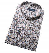 Chemise manche longue Blanche motifs bleu brun de 2XL à 5XL
