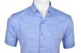 Chemise lin bleue manche courte de 3XL à 6XL