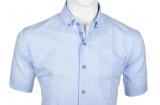 Chemise lin bleu clair manche courte de 3XL à 6XL