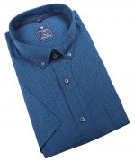 Chemise manche courte petits motifs bleu de 2XL à 6XL