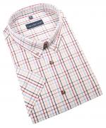 Chemise manche courte carreaux blanc-cassé de 2XL à 5XL