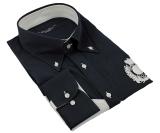 Chemise sport noire avec décoration blanche