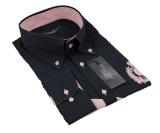 Chemise sport noire avec décoration rose