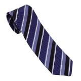 Cravate Club mauve rayée blanc noir
