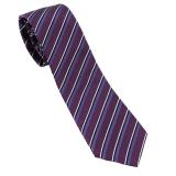 Cravate Club violette rayée blanc noir