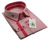 Chemise Fashion pied-de-poule blanc et rouge Manu de 3XL à 5XL