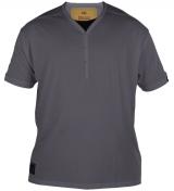 T-shirt gris foncé Col en Y boutonné de XL à 4XL