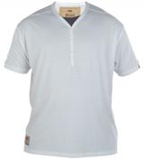 T-shirt blanc Col en Y boutonné de XL à 4XL