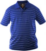 Polo bleu royal ligné blanc Col boutonné de 1XL à 4XL
