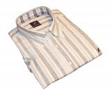 Chemise à base de lin lignée gris et blanc de 4XL à 7XL